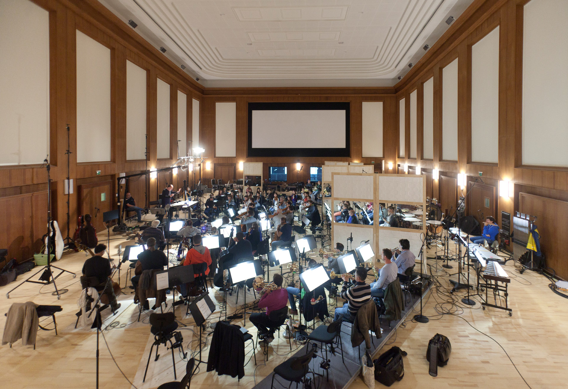 Conrad Pope conducting the Synchron Stage Orchestra at the initial recordings in October 2015.